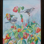 """Mockingbirds (Original) by Gail Dolphin - This is an acrylic on panel of two Mockingbirds on a camellia bush.  They are one of my favorite songbirds and I also included a little Anole Lizard in the scene, a frequent visitor to my yard.  The painting is framed in a rustic style 2"""" dark walnut wood frame with gold undertones."""