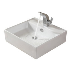 Kraus - Kraus C-KCV-150-14701BN White Square Ceramic Sink and Illusio Basin Faucet - Add a touch of elegance to your bathroom with a ceramic sink combo from Kraus