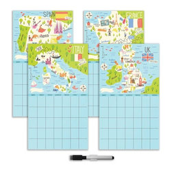 Brewster Home Fashions - Bon Voyage 4 Piece Calendar Set Decals - Bon Voyage features a  fun homage to four famous European destinations: France Italy Spain and England. This dry-erase calendar lets you keep four months planned at a glance while enjoying a taste of the culture of each of these memorable countries. Includes four 9.75-in x 17.75-in calendar decals.