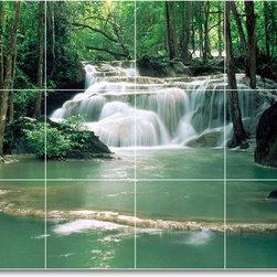 Picture-Tiles, LLC - Waterfalls Picture Back Splash Tile Mural W070 - * MURAL SIZE: 12.75x17 inch tile mural using (12) 4.25x4.25 ceramic tiles-satin finish.