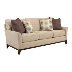 Broyhill - Broyhill Perspectives Three Seat Beige Sofa with Cognac Wood Finish - Broyhill - Sofas - 44453Q - About This Product: