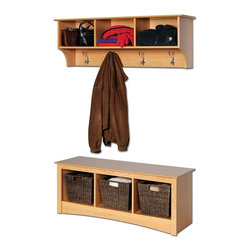 Prepac - Entryway Wall Mount Coat Rack w Shoe Storage - This wonderful bedroom bench and wall shelf set will make it easy for you to put up your things at the end of a long day.  Its hooks are excellent for sweaters or bags, while the six cubbies provide plenty of space for your organizational needs.  Store all of your family's outdoor wear on this attractive wall mounted coat rack and bench storage set.  Eliminate the clutter from your entry way with this attractive shelf and bench set from the Sonoma collection.  It includes a storage bench that features a popular open cubby design that also lets you display favorite collectibles. * Includes cubbie bench and a cubbie shelf. Warranty: Five years. Made from CARB-compliant, laminated composite woods . Made in North America. Assembly required. Bench:. Three storage compartments. Cubby: 13.75 in. W x 14 in. D x 12.5 in. H . 48 in. W x 15.75 in. D x 20 in. H. Wall shelf:. Three storage compartments. Four large hooks accommodate coats and jackets. Easy to install two-piece hanging rail system. Cubby: 14.25 in. W x 10 in. D x 8.75 in. H. Overall: 48 in. W x 11.5 in. D x 16.5 in. HKeep your gloves, hats, coats and jackets together where you need them with the Entryway Cubbie Shelf. Perfect for any front hallway, mudroom or home office. Versatile and practical, the Cubbie Bench is at home in any room. Its equally suitable for holding your baskets, books and blankets in other areas of the home, such as at the foot of a bed. With a simple style that blends with any decor, this is one bench that wont leave you on the sidelines.