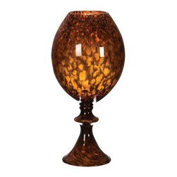 Lazy Susan - Lazy Susan 542002 Tortoise Globe Vase with Foot - Come out of your shell with this gorgeous objet d'art. Place it on an end table where it can catch the light and watch the golds and rich browns swirl and dance.