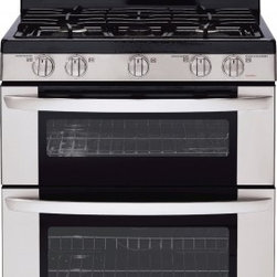 """LG - LDG3036ST 30"""" 6.1 cu. ft. Large Capacity Gas Double Oven Range With EasyClean  5 - The LG LDG3036ST 61 Cu Ft two oven five heating burners on the cooktop offers flexible cooking options The 17000 BTU SuperBoil burner and outstanding convection heat in the lower oven means youll be spending less time waiting The brilliant blue oven ..."""