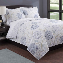 None - Lavender Floral Print 3-piece Quilt Set - The super soft,luxurious lavender floral print quilt mini set is the perfect choice to dress your bed. Made of 100-percent polyester,this set features a bohemian floral pattern in a white and lavender finish.