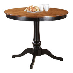 Steve Silver Candice 48 Inch Round Counter Height Table in Oak and Black