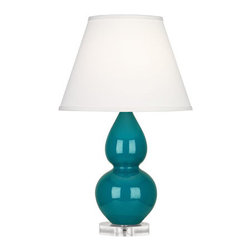 Robert Abbey - Robert Abbey Small Double Gourd Pearl Dupioni Table Lamp with Lucite Base A773X - Peacock Glazed Ceramic