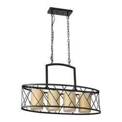 Kitchen Bath Collection - Merrick 4-Light Contemporary Metal Chandelier with Glass Shades - The Merrick 4-Light Contemporary Metal Chandelier with Glass Shades by Kitchen Bath Collection features: 4 lights with cylindrical glass lamp shades, a contemporary steel cage design with wrought iron finish, and UL safety certification. Requires 60W 120V bulbs (not included).