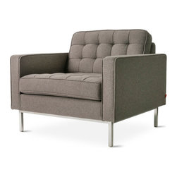 Gus Modern - Spencer Chair, Totem Pebble - Spencer Collection by Gus Modern. Proof that you don't have to sacrifice style or comfort for strength, the sturdily crafted the Spencer Sofa & Chair ensure years of handsome, worry-free service. Order them singly or pair the two together for a cohesive, contemporary seating collection. Crisp angles are softened by two loose square pillows included with the Spencer Sofa.