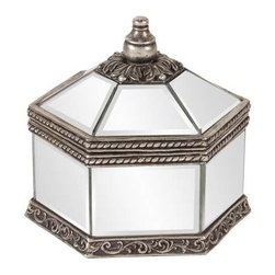 Howard Elliott Octagonal Mirrored Jewelry Box - This decorative box features an octagonal mirrored body, trimmed with decorative bronze borders sure to add a touch of elegance to any place it sits.
