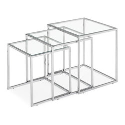 Zuo - Pasos Nesting Table - The possibilities are endless with the Pasos Nesting Table.  Configure these tables however you like in any room.  The base is made of a chrome steel tube and the top is clear tempered glass.