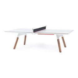 RS Barcelona - You and Me Ping-Pong Table - RS Barcelona - It's a ping pong table. Standard sized, with a surface, a design, and a structure which gives it full playability. But, it is also a large dining table, a conference table just right for the board room, or whatever you want. All the sportiness that it gets from the net, the bats, and the balls, can be put in the side drawer and hidden away completely. Built from high-quality materials, it has been made for either indoor or outdoor use.