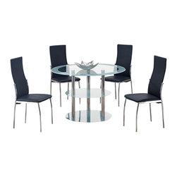Global Furniture USA - D79DT + D475DC Frosted Round Glass & Black Vinyl Five Piece Dining Set - The D79DT + DB841DC dining table will fit perfectly into any dining space and works well with any decor. This table has a unique design with a three tiered setup for extra storage area. It features frosted glass detailing with chrome metal tube legs for support. Each chair comes upholstered in a black PVC material and has a high back design.