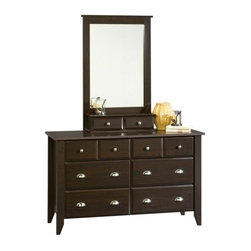 Sauder - Shoal Creek Dresser & Mirror Set in Jamocha W - Includes 6 drawer dresser (4 extra deep lower drawers) and mirror. Patented T-lock assembly system. Made of engineered wood. Assembly required. Dresser: 55 in. W x 18 in. D x 33 in. H. Mirror: 27 in. W x 9 in. D x 42 in. H