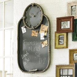 Grandin Road - Riveter Clock and Chalkboard - Message center incorporating magnetic chalkboard and clock in one unit. Handsome trim resembles metal piping. Six bolt-inspired magnets included. Sawtooth hanger. Requires 1 AA battery (not included). Keep everyone's schedule in synch with our Riveter Clock and Chalkboard. The ideal family message center, this board works with magnets or chalk-and it has a clock right where you need it. Hand-forged metal frame has a handsome burnished silver finish. Just place a piece of chalk on the tray, and you're in business.  .  .  .  .  .