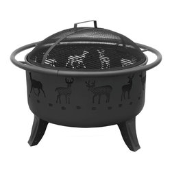 Landmann - Deer Patio Lights, Black Sandpaint/Matte Black Screen - This portable fire pit, with its whimsical deer design, will bring light and warmth to your deck or patio. Constructed of steel with four sturdy legs and side handles for easy placement, it offers a view of the crackling fire from any angle. A poker is included, and it comes with in black or metallic brown with a black screen.