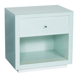 Kathy Kuo Home - Sheen Hollywood Regency Modern Ice Blue Glass Nightstand - Sleek and shiny, this nightstand adds shimmering style to your modern boudoir. The translucent, ice-colored glass has depth and dimension surrounding a storage drawer and bottom shelf. The round, brushed-silver drawer pull adds a petite pop against the frosted white background.