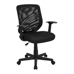 Flash Furniture - Hercules Height Adjustable Mesh Chair w Padde - Mesh Padded back. Pneumatic seat height adjustment. Locking tilt control mechanism. Tilt tension control. Polyurethane arms. Black nylon base. Dual wheel casters. Warranty: 2 year limited. Assembly required. Back: 18 in. W x 19 in. H. Seat: 19 in. W x 19.5 in. D. Seat Height: 17.25 - 20.25 in.. Arm Height from Seat: 7.5 in.. Overall: 24.5 in. W x 22 in. D x 36.5 - 39.75 in. H (27 lbs.)