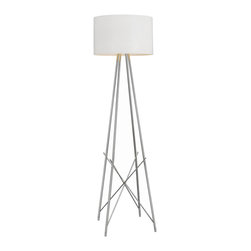 None - Ryan Tripod Silver Finish Floor Lamp - The stunning tripod design and symmetrical shape add to the beauty of this perennial favorite. Providing diffused lighting, this lamp's shade is made of metal and the base is chromed steel.