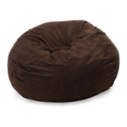 Best Selling Home Decor - Madison Brown Faux Suede 5 Foot Bean Bag - The comfort of these soft, cushioned beanbags are only matched by our Eco-friendly recycled foam and poly �bean� filled interior. A full-sized adult or a child can flop down and relax on these faux suede microfiber beanbags while still being elevated above the floor. Made in the USA, the seams are double-stitched preventing any leaks. Materials: Microfiber synthetic suede, polystyrene beans, foam; Fill: EPS polystyrene beans and recycled CFR foam-certified fill for comfort; Closure: Double zipper is added for durability and then sealed shut for safety; Cover: Cover is double-stitched along all seams and is removable; also includes hidden stitching and seams; Puncture proof; Care Instructions: Spot Clean; Made in the US; Trademarked; Adult and Kid friendly.