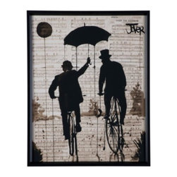 Z Gallerie - The Umbrella - Featuring the imagery of two men peddling down the street, The Umbrella adorns your walls with cool hues of umber, black and linen white cascade together. Vintage inspired, the two top-hat wearing men have been artistically painted atop a background of sheet music, layering the piece with depth and dimension. Visual impactful, The Umbrella comes complete with a bevel profile matte black finished moulding.