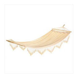 Cape Cod Canvas Hammock - Turn your backyard into a vacation spot with this pretty Cape Cod Canvas Hammock.  I love the fringe detail on the sides...really gives it a feeling of luxury.