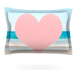"Kess InHouse - Bree Madden ""Heart Beach"" Pink Sand Pillow Sham (Cotton, 30"" x 20"") - Pairing your already chic duvet cover with playful pillow shams is the perfect way to tie your bedroom together. There are endless possibilities to feed your artistic palette with these imaginative pillow shams. It will looks so elegant you won't want ruin the masterpiece you have created when you go to bed. Not only are these pillow shams nice to look at they are also made from a high quality cotton blend. They are so soft that they will elevate your sleep up to level that is beyond Cloud 9. We always print our goods with the highest quality printing process in order to maintain the integrity of the art that you are adeptly displaying. This means that you won't have to worry about your art fading or your sham loosing it's freshness."