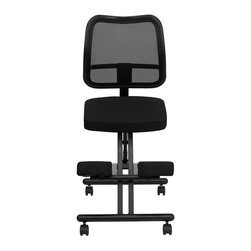 Flash Furniture - Flash Furniture Mobile Ergonomic Kneeling Chair in Black - Flash Furniture - Office Chairs - WL3520GG - Regain your body's natural posture with this ergonomic kneeling chair with included back. The mesh back allows air circulation for comfort when sitting for long periods of time. Kneeling chairs sit you in a position to allow your diaphragm to move efficiently and promote better breathing and blood circulation. Use as your permanent office chair or to take a break from your conventional chair. [WL-3520-GG]