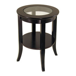 Winsome - Genoa End Table - Elegantly design with glass top, this end table. Its flared leg, shelf blends well with any style of room decor.