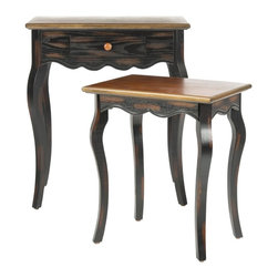 Safavieh - Jasper Nesting Table W/Drawer - Crafted with vintage-inspired finishes and charm, the Jasper accent table set boasts Queen Anne legs, scalloped aprons and a mix of birch and ash woods. Simply lift the larger table and stack it above its petite companion for a pretty nesting table look.