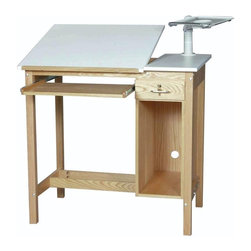 Alvin and Company - SMI Computer Drafting Table in Oak w Locking - Choose Size: 30 in. L x 42 in. W x 39.5 in. HWith a CPU storage compartment and an adjustable drafting table top, this versatile computer table will be an excellent addition to your office space. It is highlighted by an adjustable monitor arm and a pull out keyboard tray as well as a locking tool drawer and is made of solid oak finished with multiple coats of clear lacquer. Includes a locking tool drawer and strategically located holes for air circulation and cable management. Table is standard with an adjustable monitor arm and pull out keyboard tray that is fitted with  metal ball bearing slides. White fiber resin core top. Table is finished with multiple coats of clear furniture grade lacquer. Assembled with thru-bolt construction. Top: 30 in. x 30 in.. 30 in. L x 42 in. W x 39.5 in. H (225 lbs.). 30 in. L x 48 in. W x 39.5 in. H (235 lbs.)