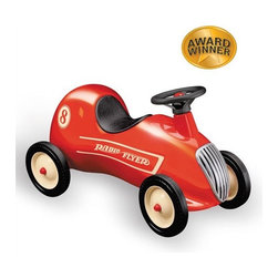 """Radio Flyer - Little Red Roadster - Put your child in the driver's seat of their own imagination as they learn the rules of the road with this Ride-On. This little Red Roadster can make childhood dreams soar. The classic retro styling and quality craftsmanship make this a perfect addition to your home. This is a classic that can be passed on for generations. Features: -Cool retro styling . -Classic foot-to-floor car . -Shiny red all-steel body . -Honking horn . -Real working steering wheel . -Steel wheels with real rubber tires . -Awards: Parent's Magazine Best Toy of the Year . Specifications -For ages 1 - 4 . -Body dimensions: 26.5"""" x 9.5"""" x 11"""" . -Wheel dimensions: 6"""" x 1.25"""" . -Weight: 14.94 lbs ."""