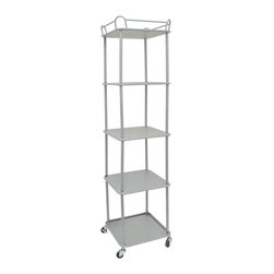 High Rise Trolley Shelf - Stack up your bathroom or that pesky odd corner with the essentials. This tall, slim five-shelf unit is a great way to fit tons of storage space into tight quarters.