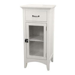 None - Classique Single Door/ Single Drawer Floor Cabinet - Add an elegant combination of form and function with this white single-door floor cabinet by Classique. Perfect for bathrooms and hallways, this cabinet is made of MDF and features one door and one drawer to suit your light storage needs.