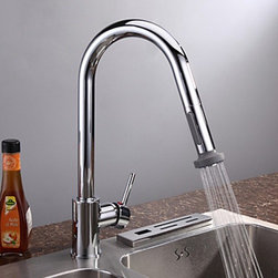 Kitchen Sink Faucets - Chrome Finish Contemporary Pull Down Kitchen Faucet-- FaucetSuperDeal.com