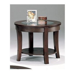Coaster - Simpson Round End Table - Contemporary style. Smooth beveled glass top. Clean defined edges. Curved legs and detail. Made from wood. Cappuccino finish. 28 in. Dia. x 22 in. H. WarrantyAccentuate an upholstered chair with the relaxed sophistication of this end table. Store books and TV remotes on the bottom shelf, and display a reading lamp and favorite photo on the surface of this chair side table.