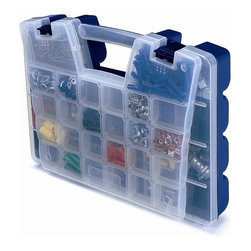 Akro Mills - Portable Organizer w Frost Lid in Blue - Includes removable dividers. Two separate storage compartment levels. Unique design. Lid storage. 11 to 46 departments. Molded in-feet allows case to stand upright. Main compartment holds larger and bulky items. Separate lid compartment holds small items. 11.3 in. L x 3.6 in. W x 15.1 in. H