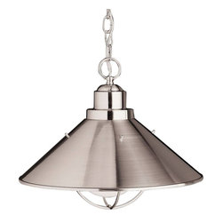 Kichler - Kichler Seaside Unique Pendant Light Fixture in Brushed Nickel - Shown in picture: Outdoor Pendant 1Lt in Brushed Nickel