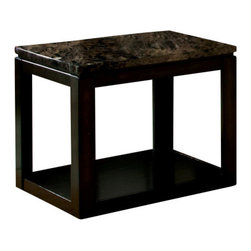 Standard Furniture - Standard Furniture Bella 23 Inch End Table in Deep Brown - Quality veneers over wood products and select solids used throughout. Group may contain some plastic parts. Bar pulls in brushed nickel color finish. Deep brown color finish with faux marble travertine color tops. Surfaces clean easily with a soft cloth.