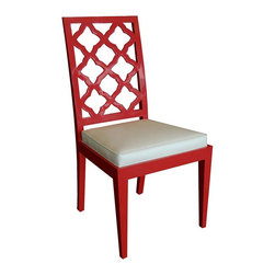 Sofia Lacquered Chair - Red - Hand carved solid wood side chair available in matte or high-gloss paint/lacquer color, or wood finish.