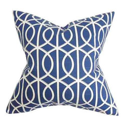 The Pillow Collection - Lior Blue 18 x 18 Geometric Throw Pillow - - Pillows have hidden zippers for easy removal and cleaning  - Reversible pillow with same fabric on both sides  - Comes standard with a 5/95 feather blend pillow insert  - All four sides have a clean knife-edge finish  - Pillow insert is 19 x 19 to ensure a tight and generous fit  - Cover and insert made in the USA  - Spot clean and Dry cleaning recommended  - Fill Material: 5/95 down feather blend The Pillow Collection - P18-ROB-BELLAPORTE-TWILIGHT-C1