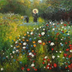 overstockArt.com - Renoir - Woman with a parasol in a Garden (Frau mi Sonnenschirm) - Hand painted oil reproduction of a famous Renoir painting, Woman with a parasol in a Garden , also known as Frau mi Sonnenshirm, in German was originally painted in 1875-76. Today it has been carefully recreated detail-by-detail, color-by-color to near perfection. In the 1870's Renoir's Impressionist technique reached its peak, with glorious accomplishment. His fully defined technique rendered facial expressions and movements masterfully. He spent weeks and sometimes months perfecting his paintings. Why not grace your home with this reproduced masterpiece? It is sure to bring many admirers!