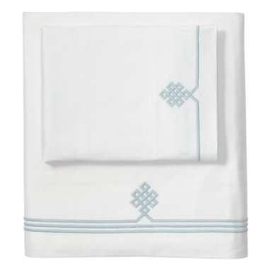 Serena & Lily - Aqua Gobi Embroidered Sheet Set - Our not-so-basic white sheets make a great foundation for layering color and pattern throughout the room -- think of them as classics with a twist. Smooth sateen makes them wonderfully comfortable, too. An ancient Buddhist motif, representing the endless knot of wisdom, is embroidered in aqua on the flat sheet and cases.