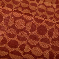 Mod Geometric Upholstery Fabric in Radical Red - Mod Geometric Upholstery Fabric in Radical Red is a bright, 60′s inspired pattern in rich shades of red and rust. This fabric is perfect for a pop of color in interior designs. American made from a blend of 69% polyester, 19% cotton, and 12% rayon. Treated with a stain repellent finish. Exceeds Wyzenbeek 50,000 double rubs. Passes CA Bulletin #117; NFPA 260, UFAC Class I. Cleaning Code: S. Repeat: 5.33″ V 5.23″ H; Width: 54″ 14 oz./linear yd.