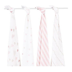 "Aden and Anais - Aden and Anais Heart Breaker Swaddles Set of 4 - Pack of four 100% cotton muslin swaddling blankets in luscious colors! aden+anais wraps are the ultimate in breathability and softness. The fabric's light, open weave allows a baby's body temperature to regulate itself naturally in order to prevent overheating, so that a swaddled baby stays cool in the summer and warm in the winter. It is gentle on baby's skin and durable for everyday use, as the more you wash it, the softer it gets. aden+anais wraps are a generous size, measuring 47"" x 47"", so that new and seasoned moms alike can swaddle babies of all sizes with ease. In addition to the common use as a swaddling wrap, aden+anais wraps are versatile, useful as burp cloths, nursing shields, stroller covers to protect from sun, cold, wind or insects, portable crib sheets, stroller and car seat liners, tummy time blankets, change table covers, and more."