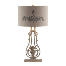 Kathy Kuo Home - Pair Viottoria Lute Shade Base Iron French Manor Table Lamp - A delicate balance of elegance and wrought iron in an aged gray painted finish lend vintage charm to this updated shabby chic lamp.  Price marked is for a pair.