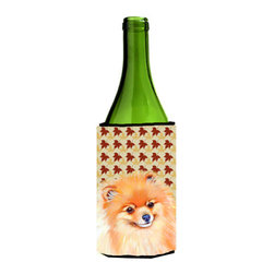 Caroline's Treasures - Pomeranian Fall Leaves Portrait Wine Bottle Koozie Hugger - Pomeranian Fall Leaves Portrait Wine Bottle Koozie Hugger Fits 750 ml. wine or other beverage bottles. Fits 24 oz. cans or pint bottles. Great collapsible koozie for large cans of beer, Energy Drinks or large Iced Tea beverages. Great to keep track of your beverage and add a bit of flair to a gathering. Wash the hugger in your washing machine. Design will not come off.