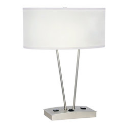 """Lamps Plus - Contemporary Jae Brushed Steel Table Lamp with Power Outlet - Contemporary table lamp. Brushed steel finish. V-shaped body. Features 2 convenience outlets at the base. Includes two 26 watt GU24 base CFL bulbs. Dedicated GU24 sockets. On-off switch on base. 8"""" harp. 8' clear cord. Off-white lamp shade. Shade measures 19"""" wide and 14"""" deep across the top and bottom 9"""" high. Base is 19"""" wide and 14"""" deep. 25 1/2"""" high.  Contemporary table lamp.   Brushed steel finish.   V-shaped body.   Features 2 convenience outlets at the base.  Includes two 26 watt GU24 base CFL bulbs.   Dedicated GU24 sockets.   8"""" harp.  8' clear cord.   Off-white lamp shade.   Shade measures 19"""" wide and 14"""" deep across the top and bottom 9"""" high.   Base is 19"""" wide and 14"""" deep.   25 1/2"""" high."""