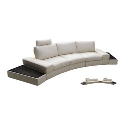 "Beverly Hills Furniture Inc. - Modi Sofa with Motion Back and Headrest - This is Light Gray full leather Modi Sofa with Motion Back and Headrest with ""push back"" back support to expose deep seating / sleeping area. Contemporary design sofa with motion back offers a unique and modern look."