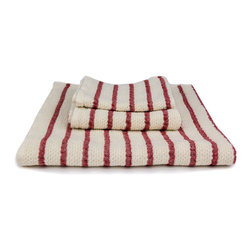 Red on Cream Striped Towel - Dry off in style with this lightweight ramie blend towel. Nothing feels better than to wrap yourself in a warm, fluffy towel after a nice soak. Its neutral, off-white tone and red stripes will complement the color palette for any season, so you can use these heavenly towels all year round.